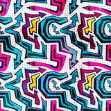 Graffiti bright psychedelic seamless pattern on a black background vector illustration Stock Photo