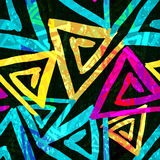 Graffiti bright psychedelic seamless pattern on a black background vector illustration Royalty Free Stock Photo