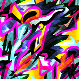 Graffiti bright psychedelic seamless pattern on a black background vector illustration. (vector eps 10 stock illustration
