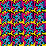 Graffiti bright psychedelic seamless pattern on a black background vector illustration Stock Photos