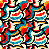 Graffiti bright psychedelic seamless pattern vector illustration Royalty Free Stock Images