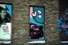 Graffiti BRITANNICI sulla parete, graffiti di Cambridge bei della via Fotografie Stock