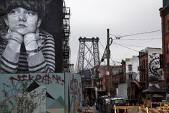 Graffiti in Brooklyn-Straße New York Stockfotografie