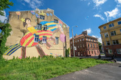 Graffiti on building in Kaunas old town, Lithuania Royalty Free Stock Photos