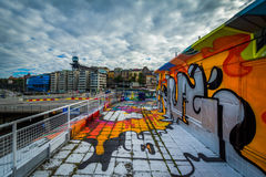 Graffiti on a building in Slussen, Södermalm, Stockholm, Sweden Stock Photography