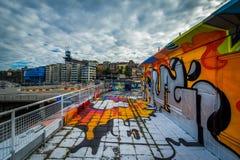 Graffiti on a building in Slussen, Södermalm, Stockholm, Sweden Stock Photography