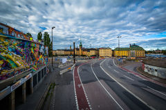 Graffiti on a building and view of Galma Stan, in Slussen, Söde Stock Images