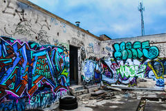 Graffiti on building walls Royalty Free Stock Photography