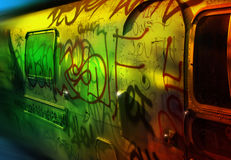 Graffiti Bus. Abstract of an old metal bus covered in urban graffiti Royalty Free Stock Images