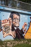 Graffiti Composer Richard Wagner Bayreuth. Graffiti with the Bust of the great German composer Richard Wagner in the city of Bayreuth. Graffiti will never die stock image