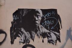 Graffiti in Cagliari, in Sardinige Stock Foto's