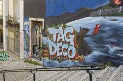 Graffiti on Calcada do Lavra street in Lisbon Stock Photos