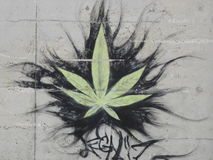 Graffiti: cannabis leaf Stock Image