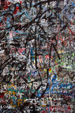 Graffiti chaos. Layers of graffiti chaos scribbled and painted on a wall Royalty Free Stock Image
