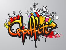 Graffiti characters print. Decorative graffiti art spray paint letters and characters composition abstract wall aerosol sketch grunge vector illustration Royalty Free Stock Image