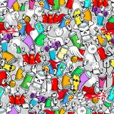 Graffiti characters seamless pattern Stock Photos