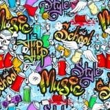 Graffiti characters seamless pattern. Decorative graffiti spray can characters urban school youth street art design seamless pattern wrap abstract vector Stock Photos