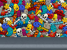 Graffiti Characters On Wall Pattern Royalty Free Stock Photo