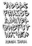 Graffiti chrzcielnicy 3D- ręka pisać - Wektorowy abecadło Obrazy Stock
