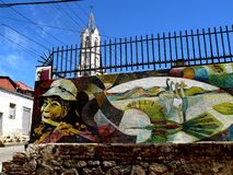 Graffiti and church, Valparaiso Stock Image