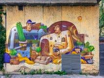 Graffiti ścienny obraz w Lviv Obraz Stock