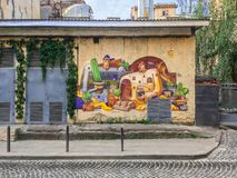 Graffiti ścienny obraz w Lviv Zdjęcia Stock