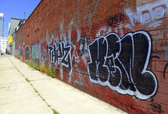Graffiti on city street in Brooklyn, New York Stock Images