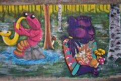 Graffiti coloré et élégant dans un tunnel de marche dans LuleÃ¥ Photo libre de droits