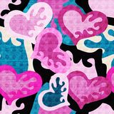 Graffiti colored hearts seamless background illustration of grunge texture. Vintage decorative elements llustration royalty free illustration
