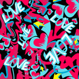 Graffiti colored hearts seamless background vector illustration of grunge texture Royalty Free Stock Photos