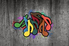 Graffiti of colorful music notes Royalty Free Stock Photo