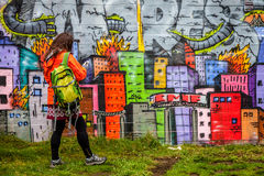 Graffiti. Colorful graffiti in a scateboard park in Reykjavik, Iceland Stock Images