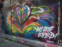 Graffiti - Colourful Heart - You are Loved Royalty Free Stock Images