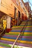 Graffiti Colourful Valparaiso della via nel Cile fotografie stock libere da diritti
