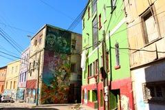 Graffiti Colourful Valparaiso della via nel Cile fotografia stock