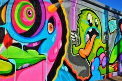 Graffiti in Corktown, Detroit. Detroit Graffiti is Colorful Art Royalty Free Stock Images