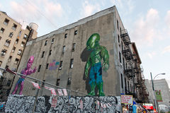 Graffiti Covered Building in Urban New York City Royalty Free Stock Photos