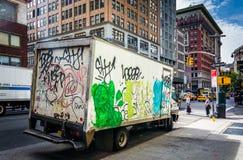 Graffiti-covered truck in Manhattan, New York. Stock Photo