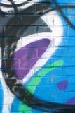 Graffiti Covers Warehouse Brick Wall Royalty Free Stock Photo