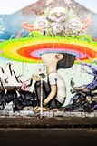 Graffiti with rainbow colors Stock Photos