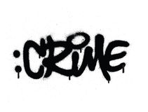 Graffiti crime word sprayed in black on white Royalty Free Stock Photos