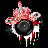 Graffiti Crown and Loudspeaker Stock Photo