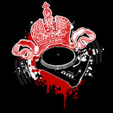 Graffiti Crown and Turntable Stock Photos