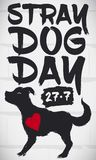 Graffiti with Cute Dog with Heart Commemorating Stray Dog Day, Vector Illustration. Wall with commemorative design in brush stroke style with a dog and a heart Royalty Free Stock Photos