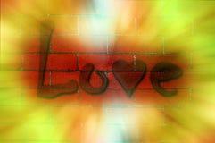 Graffiti d'amour sur le mur de briques Images stock