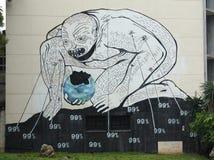 Graffiti d'Anti-capitaliste, La Havane, Cuba Images stock
