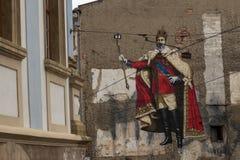 Graffiti d'empereur faisant le selfie images stock