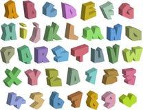 Graffiti 3D färben Güsse Alphabet und Zahl über Weiß Lizenzfreie Stockfotos