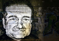 Graffiti d'hommage de Robin Williams Image stock