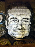 Graffiti d'hommage de Robin Williams Images libres de droits